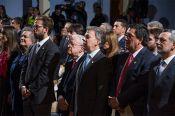 Integrantes de la casa presidencial, personajes de la vida pol&iacutetica del pa&iacutes y directivas de la UC durante la ceremonia