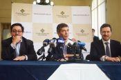 Rafael Santos Calderón, rector de la UC;Rafael Pardo, ministro asesor para el posconflicto, y Arnaud Peral, director del PNUD.